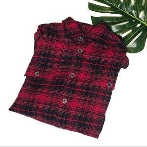 Jachs | Red Black Watch Plaid Flannel Button Down